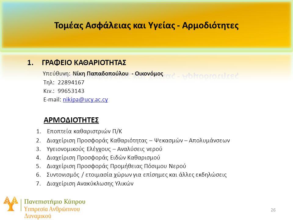 26 1.ΓΡΑΦΕΙΟ ΚΑΘΑΡΙΟΤΗΤΑΣ Υπεύθυνη: Νίκη Παπαδοπούλου - Οικονόμος Τηλ: 22894167 Κιν.: 99653143 E-mail: nikipa@ucy.ac.cynikipa@ucy.ac.cy ΑΡΜΟΔΙΟΤΗΤΕΣ 1.