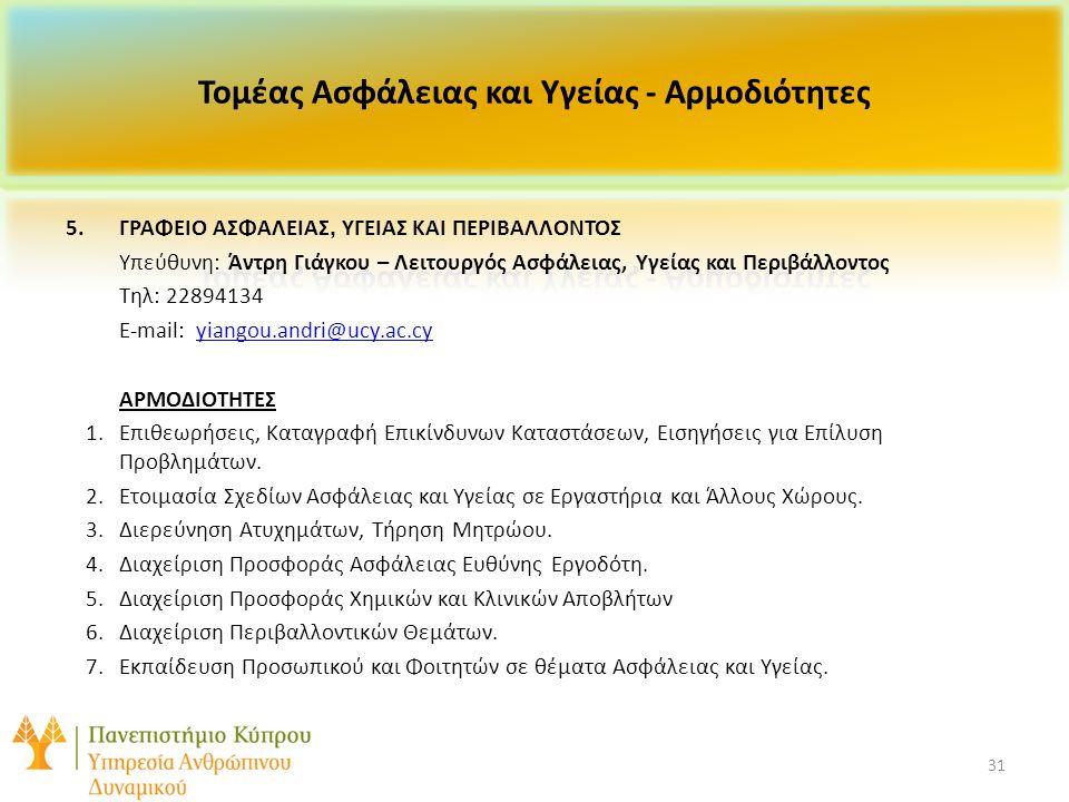 31 5.ΓΡΑΦΕΙΟ ΑΣΦΑΛΕΙΑΣ, ΥΓΕΙΑΣ ΚΑΙ ΠΕΡΙΒΑΛΛΟΝΤΟΣ Υπεύθυνη: Άντρη Γιάγκου – Λειτουργός Ασφάλειας, Υγείας και Περιβάλλοντος Τηλ: 22894134 E-mail: yiangou.andri@ucy.ac.cyyiangou.andri@ucy.ac.cy ΑΡΜΟΔΙΟΤΗΤΕΣ 1.Επιθεωρήσεις, Καταγραφή Επικίνδυνων Καταστάσεων, Εισηγήσεις για Επίλυση Προβλημάτων.