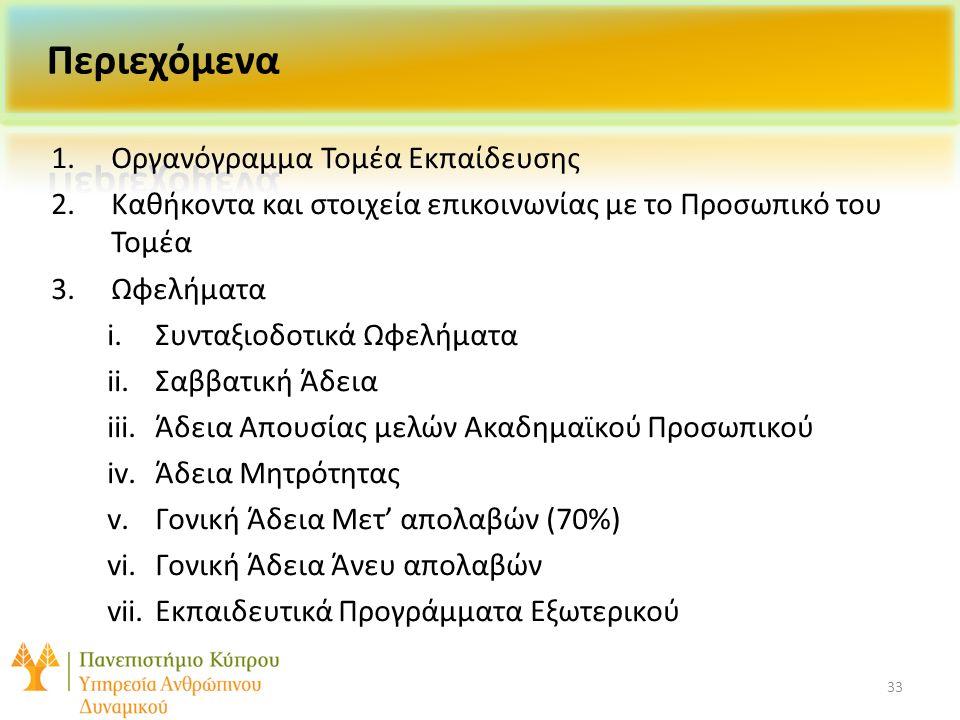 33 1.Οργανόγραμμα Τομέα Εκπαίδευσης 2.Καθήκοντα και στοιχεία επικοινωνίας με το Προσωπικό του Τομέα 3.Ωφελήματα i.Συνταξιοδοτικά Ωφελήματα ii.Σαββατική Άδεια iii.Άδεια Απουσίας μελών Ακαδημαϊκού Προσωπικού iv.Άδεια Μητρότητας v.Γονική Άδεια Μετ' απολαβών (70%) vi.Γονική Άδεια Άνευ απολαβών vii.Εκπαιδευτικά Προγράμματα Εξωτερικού