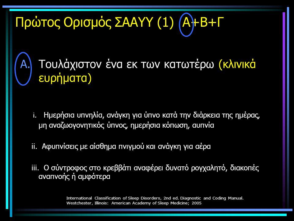 Πρώτος Ορισμός ΣΑΑΥΥ (1) Α+Β+Γ A.Τουλάχιστον ένα εκ των κατωτέρω (κλινικά ευρήματα) i. Ημερήσια υπνηλία, ανάγκη για ύπνο κατά την διάρκεια της ημέρας,