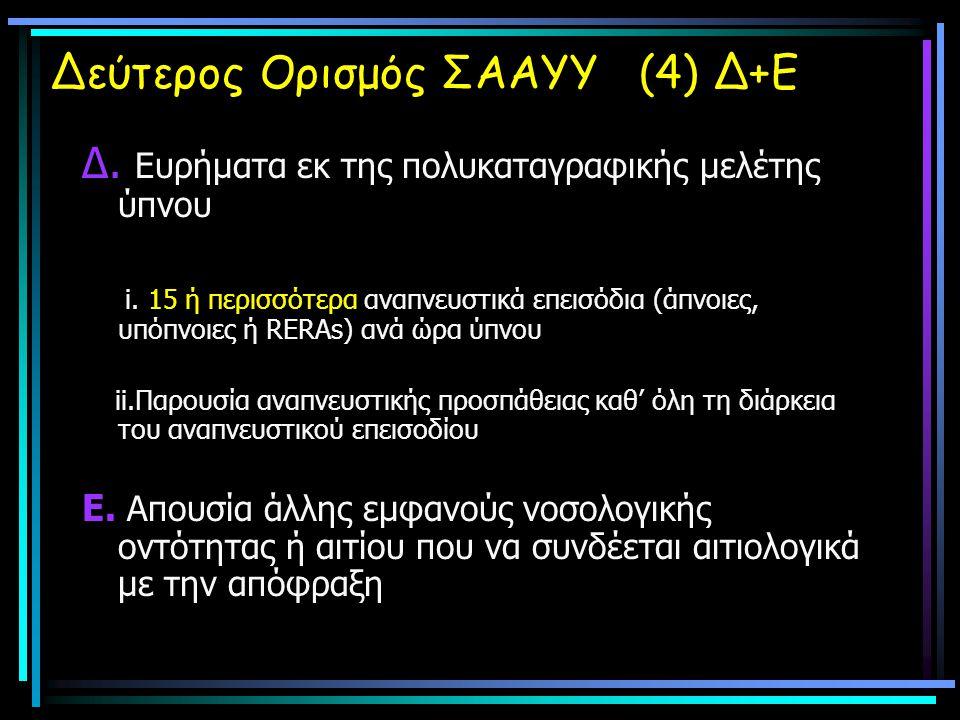 Δεύτερος Ορισμός ΣΑΑΥΥ (4) Δ+Ε Δ. Ευρήματα εκ της πολυκαταγραφικής μελέτης ύπνου i. 15 ή περισσότερα αναπνευστικά επεισόδια (άπνοιες, υπόπνοιες ή RERA