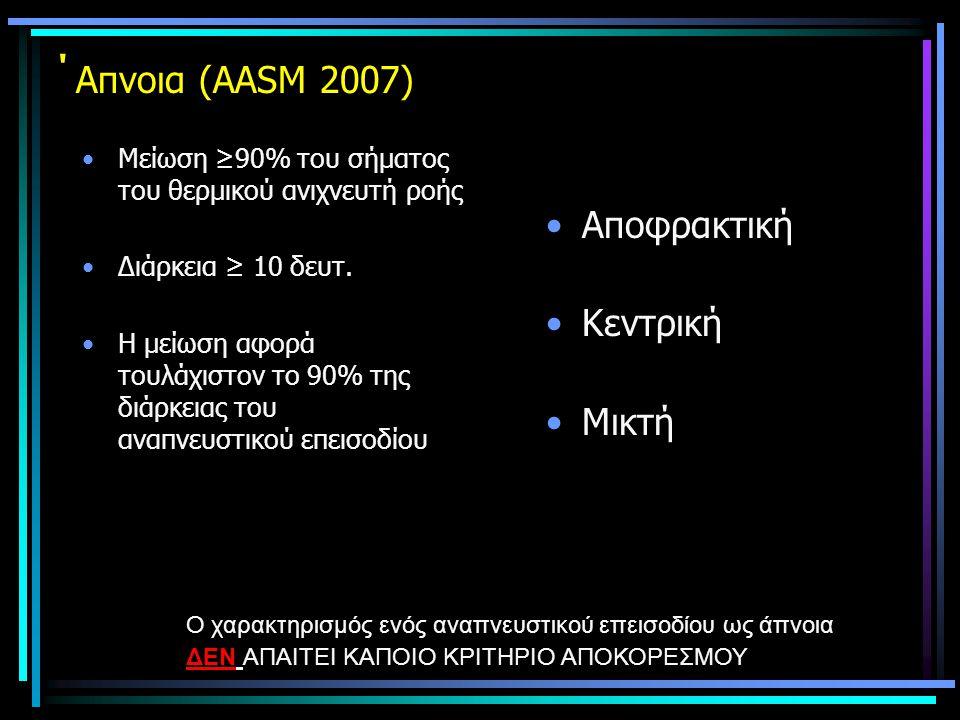 ΄ Aπνοια (ΑΑSM 2007) •Μείωση ≥90% του σήματος του θερμικού ανιχνευτή ροής •Διάρκεια ≥ 10 δευτ. •Η μείωση αφορά τουλάχιστον το 90% της διάρκειας του αν