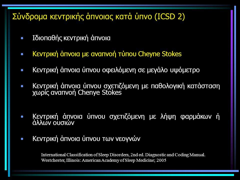 Σύνδρομα κεντρικής άπνοιας κατά ύπνο (ICSD 2) •Ιδιοπαθής κεντρική άπνοια •Κεντρική άπνοια με αναπνοή τύπου Cheyne Stokes •Κεντρική άπνοια ύπνου οφειλόμενη σε μεγάλο υψόμετρο •Κεντρική άπνοια ύπνου σχετιζόμενη με παθολογική κατάσταση χωρίς αναπνοή Chenye Stokes •Κεντρική άπνοια ύπνου σχετιζόμενη με λήψη φαρμάκων ή άλλων ουσιών •Κεντρική άπνοια ύπνου των νεογνών International Classification of Sleep Disorders, 2nd ed.