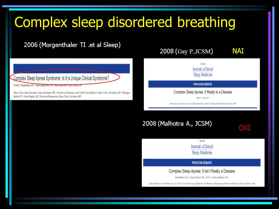 Complex sleep disordered breathing 2006 (Morgenthaler TI.et al Sleep) 2008 ( Gay P.,JCSM ) 2008 (Malhotra A., JCSM) NAI ΟΧΙ