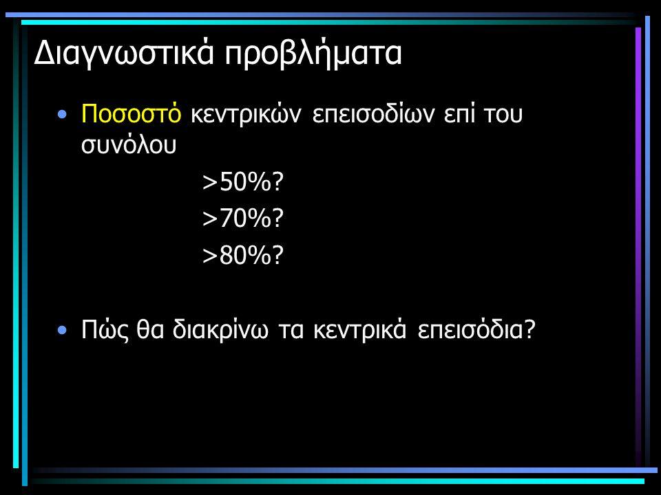 Διαγνωστικά προβλήματα •Ποσοστό κεντρικών επεισοδίων επί του συνόλου >50%? >70%? >80%? •Πώς θα διακρίνω τα κεντρικά επεισόδια?