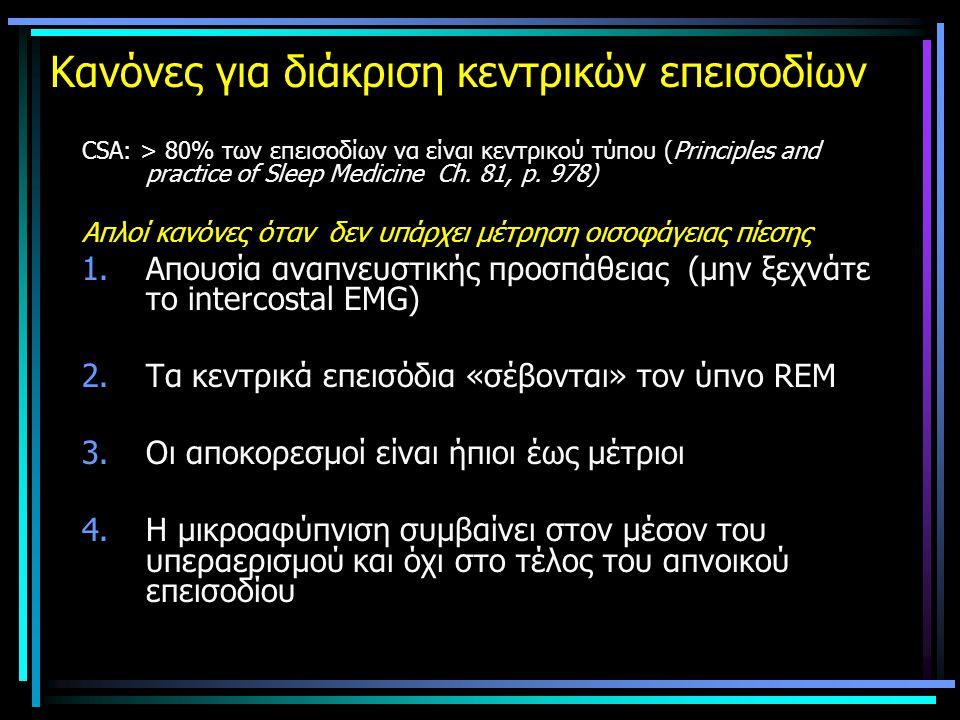 Κανόνες για διάκριση κεντρικών επεισοδίων CSA: > 80% των επεισοδίων να είναι κεντρικού τύπου (Principles and practice of Sleep Medicine Ch.