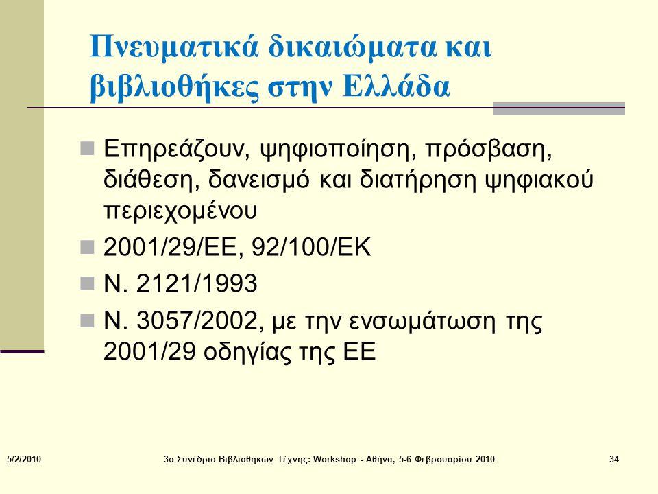 Πνευματικά δικαιώματα και βιβλιοθήκες στην Ελλάδα  Επηρεάζουν, ψηφιοποίηση, πρόσβαση, διάθεση, δανεισμό και διατήρηση ψηφιακού περιεχομένου  2001/29