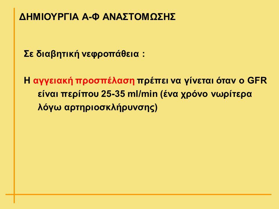 Σε διαβητική νεφροπάθεια : Η αγγειακή προσπέλαση πρέπει να γίνεται όταν ο GFR είναι περίπου 25-35 ml/min (ένα χρόνο νωρίτερα λόγω αρτηριοσκλήρυνσης) Δ
