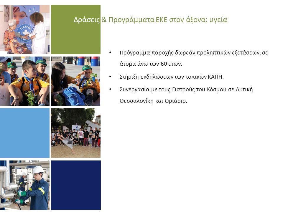 Δράσεις & Προγράμματα ΕΚΕ στον άξονα: υγεία • Πρόγραμμα παροχής δωρεάν προληπτικών εξετάσεων, σε άτομα άνω των 60 ετών.