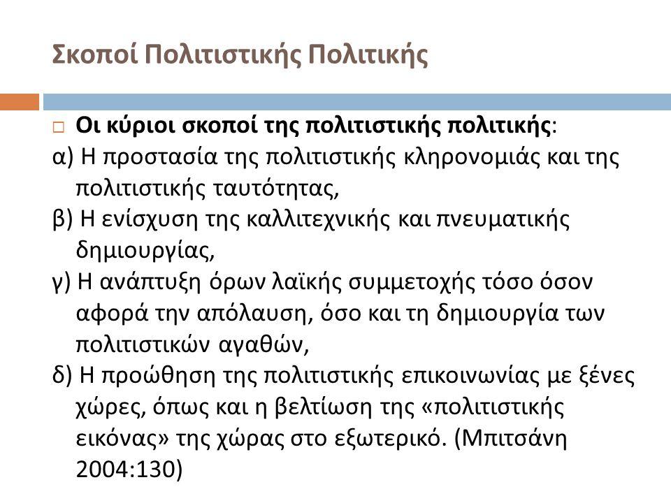 Σκοποί Πολιτιστικής Πολιτικής  Οι κύριοι σκοποί της πολιτιστικής πολιτικής : α ) Η προστασία της πολιτιστικής κληρονομιάς και της πολιτιστικής ταυτότ