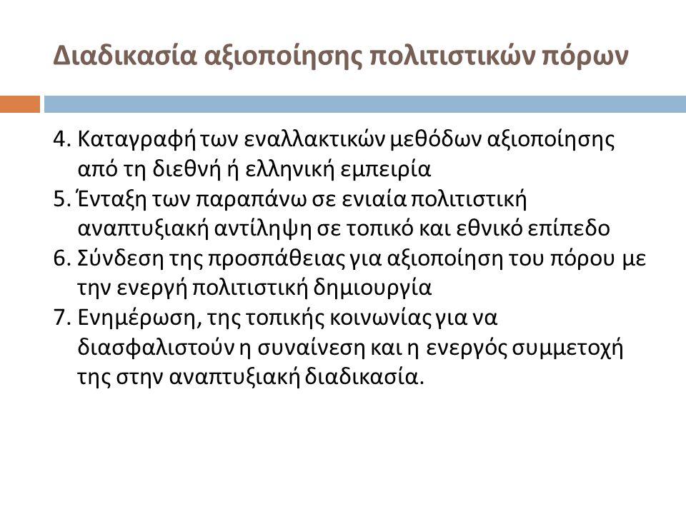 Διαδικασία αξιοποίησης πολιτιστικών πόρων 4. Καταγραφή των εναλλακτικών μεθόδων αξιοποίησης από τη διεθνή ή ελληνική εμπειρία 5. Ένταξη των παραπάνω σ