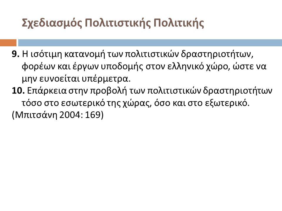 Σχεδιασμός Πολιτιστικής Πολιτικής 9. Η ισότιμη κατανομή των πολιτιστικών δραστηριοτήτων, φορέων και έργων υποδομής στον ελληνικό χώρο, ώστε να μην ευν