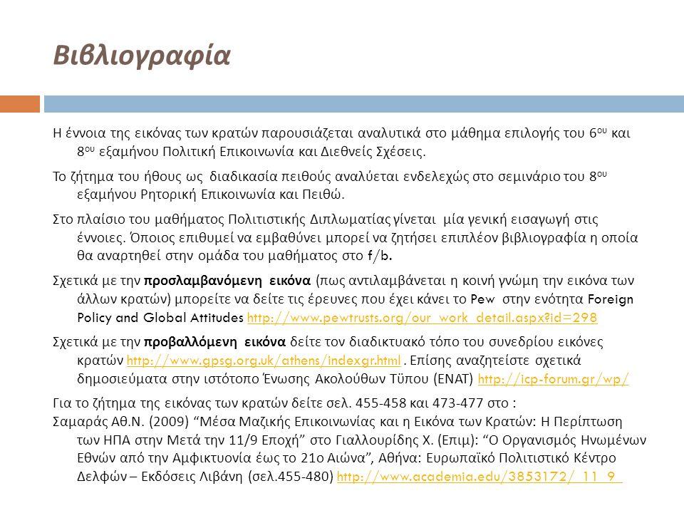 Βιβλιογραφία Η έννοια της εικόνας των κρατών παρουσιάζεται αναλυτικά στο μάθημα επιλογής του 6 ου και 8 ου εξαμήνου Πολιτική Επικοινωνία και Διεθνείς
