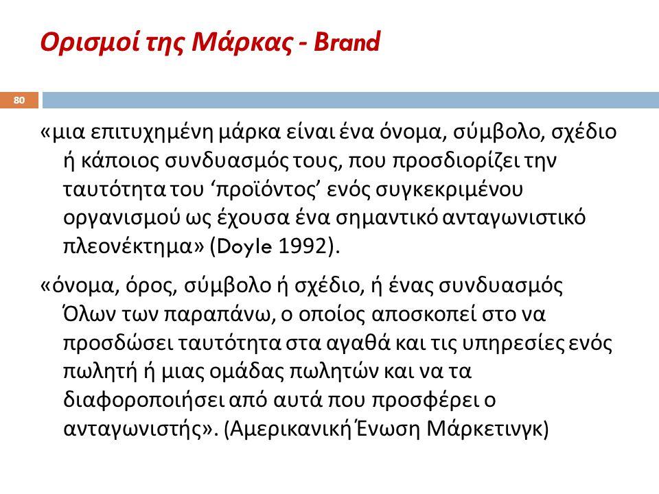 Ορισμοί της Μάρκας - Brand 80 « μια επιτυχημένη μάρκα είναι ένα όνομα, σύμβολο, σχέδιο ή κάποιος συνδυασμός τους, που προσδιορίζει την ταυτότητα του '