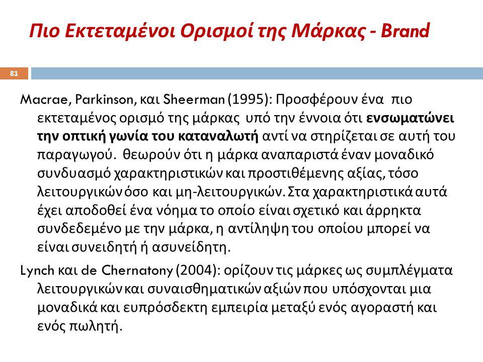Πιο Εκτεταμένοι Ορισμοί της Μάρκας - Brand 81 Macrae, Parkinson, και Sheerman (1995): Προσφέρουν ένα πιο εκτεταμένος ορισμό της μάρκας υπό την έννοια