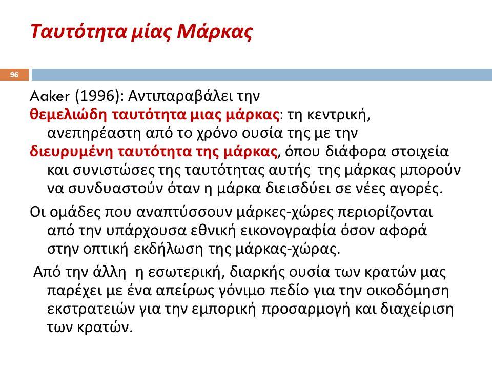 Ταυτότητα μίας Μάρκας 96 Aaker (1996): Αντιπαραβάλει την θεμελιώδη ταυτότητα μιας μάρκας : τη κεντρική, ανεπηρέαστη από το χρόνο ουσία της με την διευ