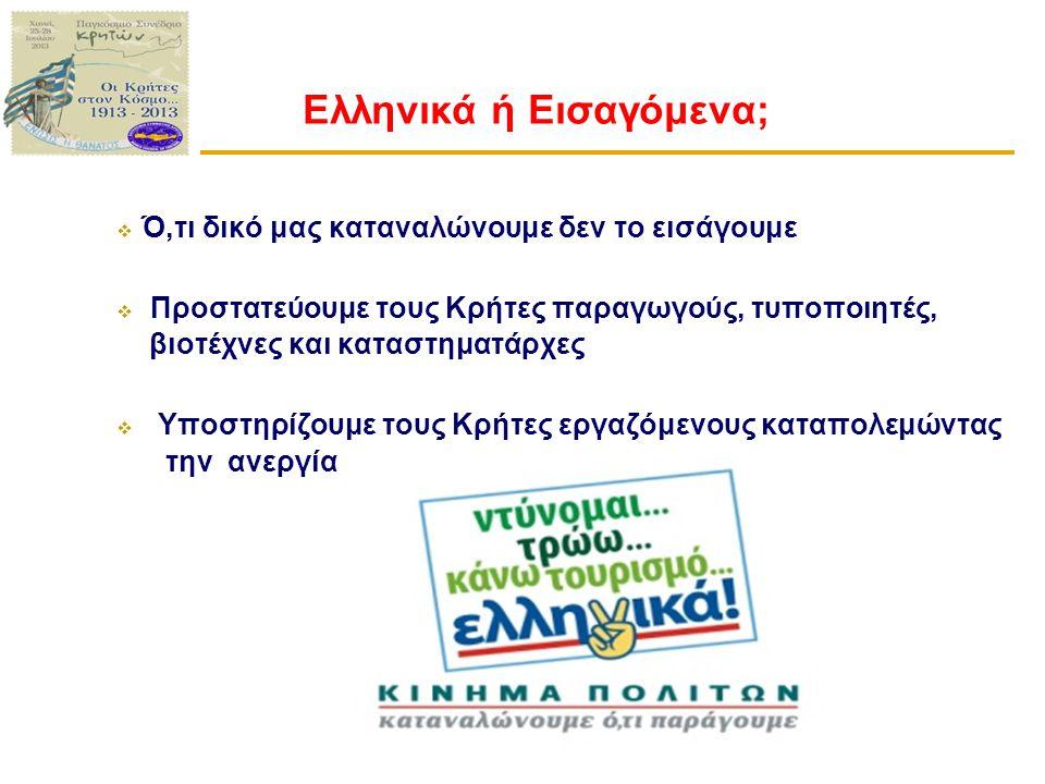 Ελληνικά ή Εισαγόμενα;  Ό,τι δικό μας καταναλώνουμε δεν το εισάγουμε  Προστατεύουμε τους Κρήτες παραγωγούς, τυποποιητές, βιοτέχνες και καταστηματάρχες  Υποστηρίζουμε τους Κρήτες εργαζόμενους καταπολεμώντας την ανεργία