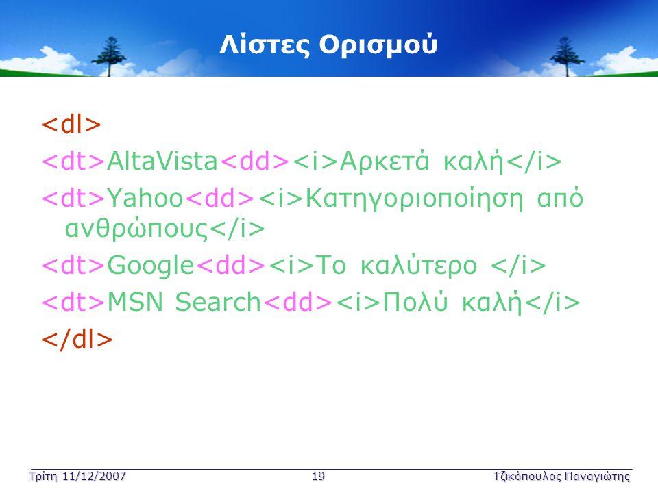 Τρίτη 11/12/2007 19Τζικόπουλος Παναγιώτης Λίστες Ορισμού AltaVista Αρκετά καλή Yahoo Κατηγοριοποίηση από ανθρώπους Google Το καλύτερο MSN Search Πολύ
