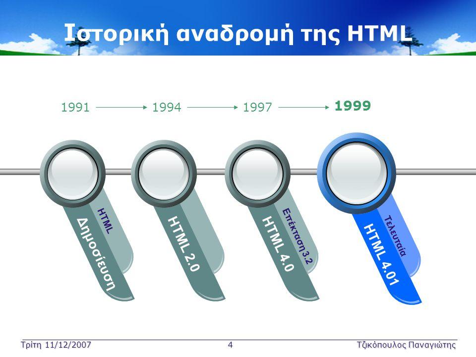 Τρίτη 11/12/2007 4Τζικόπουλος Παναγιώτης Ι στορική αναδρομή της HTML Δημοσίευση HTML HTML 2.0HTML 4.0 Επέκταση 3.2 HTML 4.01 Τελευταία 199119941997 19