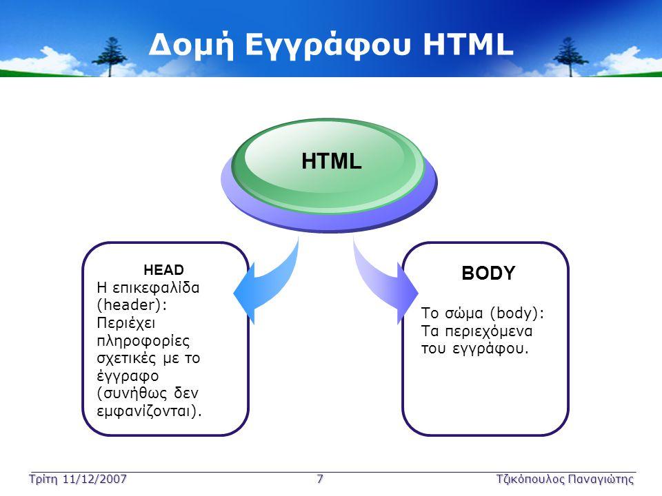 Τρίτη 11/12/2007 7Τζικόπουλος Παναγιώτης Δομή Εγγράφου HTML HEAD Η επικεφαλίδα (header): Περιέχει πληροφορίες σχετικές με το έγγραφο (συνήθως δεν εμφα