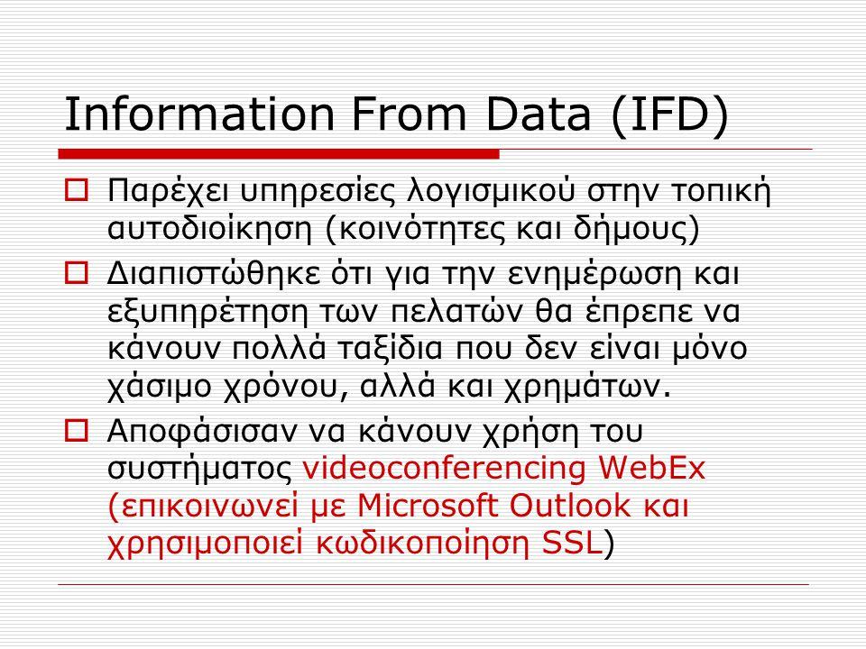 Information From Data (IFD)  Παρέχει υπηρεσίες λογισμικού στην τοπική αυτοδιοίκηση (κοινότητες και δήμους)  Διαπιστώθηκε ότι για την ενημέρωση και ε