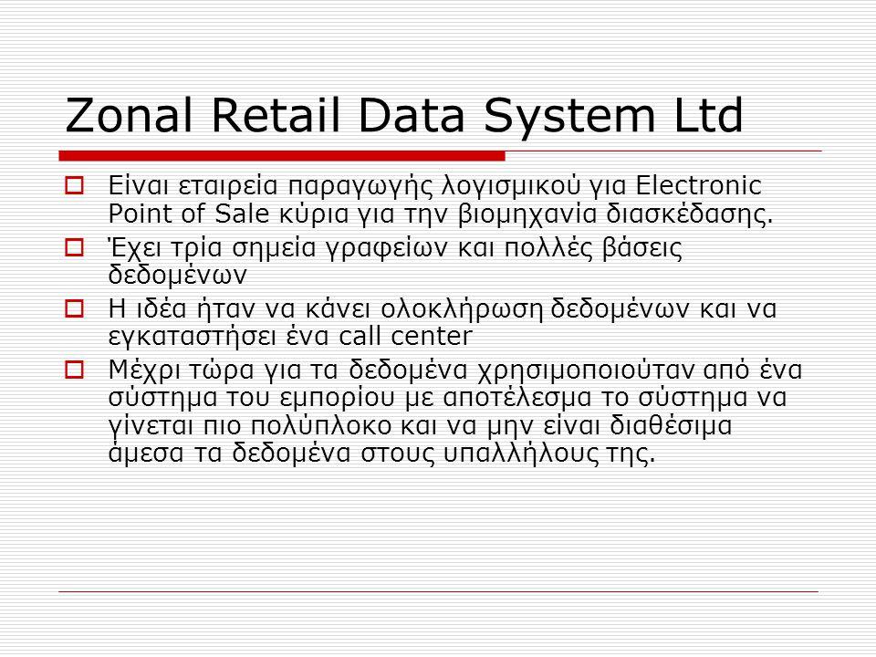 Zonal Retail Data System Ltd  Είναι εταιρεία παραγωγής λογισμικού για Electronic Point of Sale κύρια για την βιομηχανία διασκέδασης.  Έχει τρία σημε