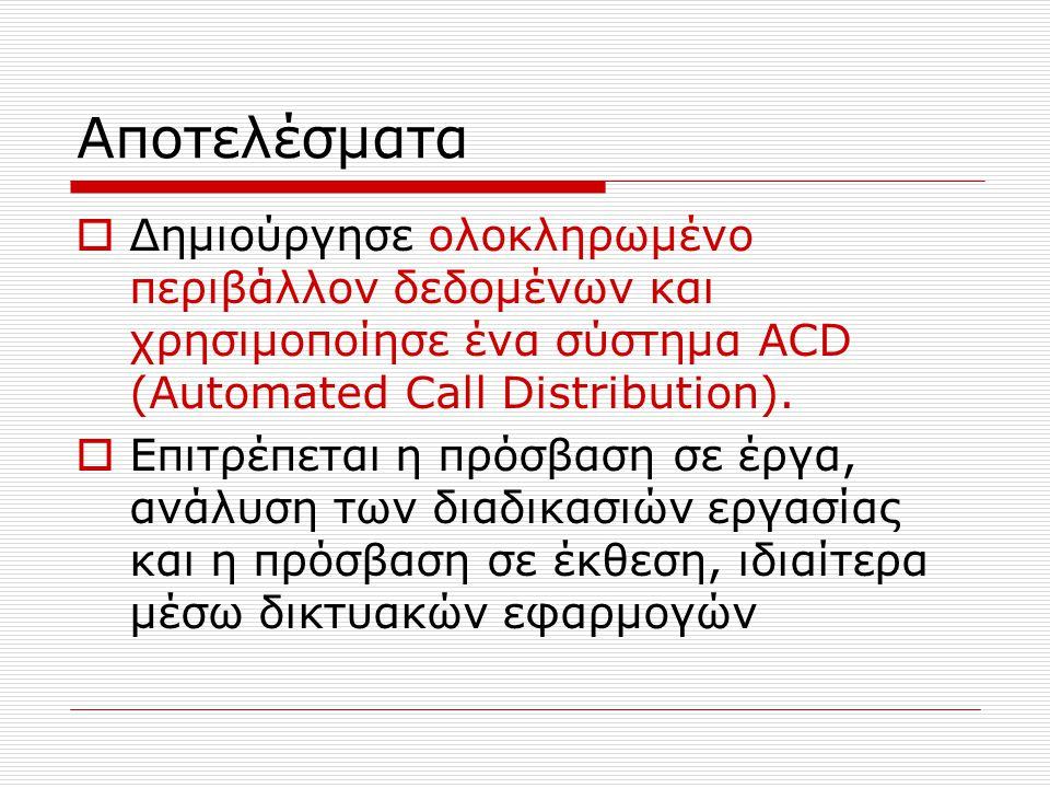 Αποτελέσματα  Δημιούργησε ολοκληρωμένο περιβάλλον δεδομένων και χρησιμοποίησε ένα σύστημα ACD (Automated Call Distribution).  Επιτρέπεται η πρόσβαση