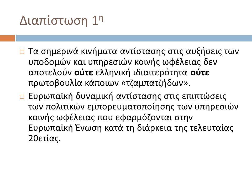Διαπίστωση 1 η  Τα σημερινά κινήματα αντίστασης στις αυξήσεις των υποδομών και υπηρεσιών κοινής ωφέλειας δεν αποτελούν ούτε ελληνική ιδιαιτερότητα ούτε πρωτοβουλία κάποιων « τζαμπατζήδων ».