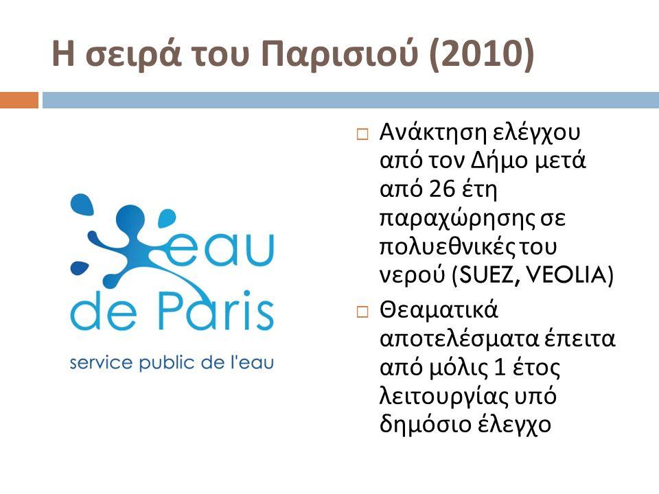 Η σειρά του Παρισιού (2010)  Ανάκτηση ελέγχου από τον Δήμο μετά από 26 έτη παραχώρησης σε πολυεθνικές του νερού (SUEZ, VEOLIA)  Θεαματικά αποτελέσματα έπειτα από μόλις 1 έτος λειτουργίας υπό δημόσιο έλεγχο
