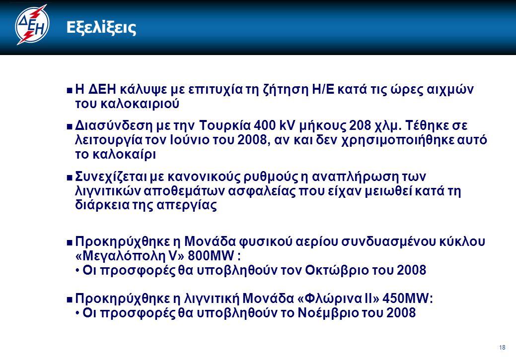 18 Εξελίξεις  Η ΔΕΗ κάλυψε με επιτυχία τη ζήτηση Η/Ε κατά τις ώρες αιχμών του καλοκαιριού  Διασύνδεση με την Τουρκία 400 kV μήκους 208 χλμ. Τέθηκε σ