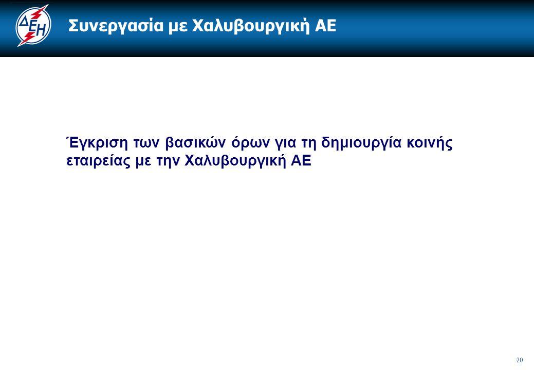 20 Συνεργασία με Χαλυβουργική ΑΕ Έγκριση των βασικών όρων για τη δημιουργία κοινής εταιρείας με την Χαλυβουργική ΑΕ