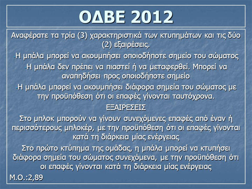 ΟΔΒΕ 2012 Αναφέρατε τις περιπτώσεις σφαλμάτων στο μπλοκ.