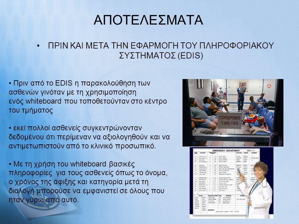 ΑΠΟΤΕΛΕΣΜΑΤΑ •ΠΡΙΝ ΚΑΙ ΜΕΤΑ ΤΗΝ ΕΦΑΡΜΟΓΗ ΤΟΥ ΠΛΗΡΟΦΟΡΙΑΚΟΥ ΣΥΣΤΗΜΑΤΟΣ (EDIS) • Πριν από το EDIS η παρακολούθηση των ασθενών γινόταν με τη χρησιμοποίησ