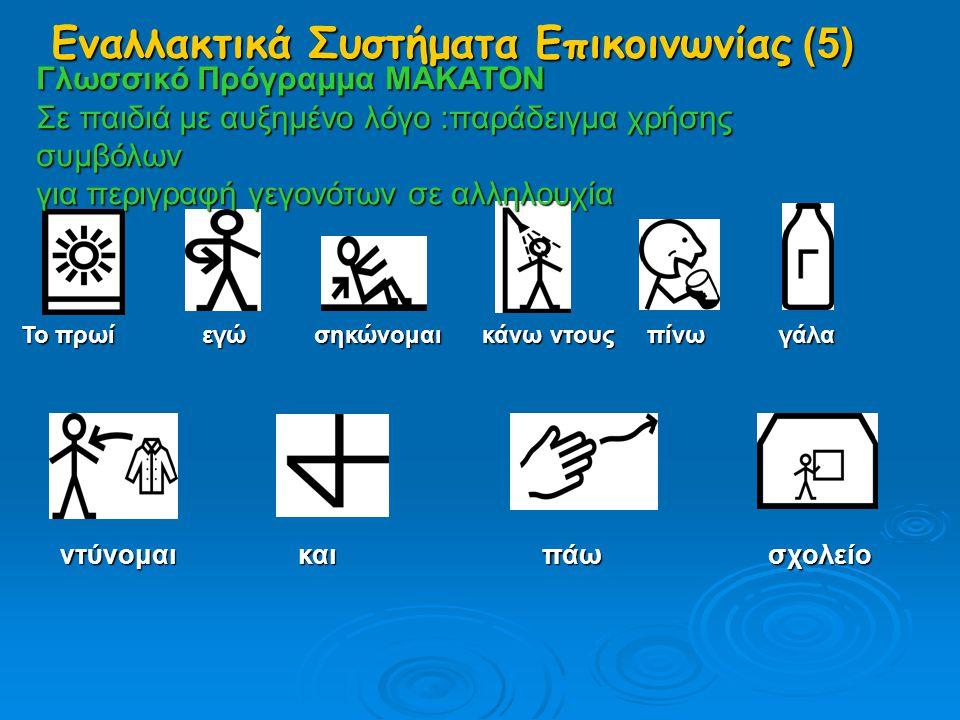 Γλωσσικό Πρόγραμμα MAKATON Σε παιδιά με αυξημένο λόγο :παράδειγμα χρήσης συμβόλων για περιγραφή γεγονότων σε αλληλουχία Το πρωί εγώ σηκώνομαι κάνω ντο