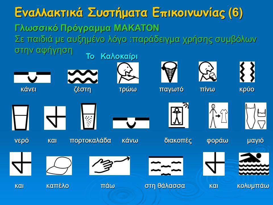 Γλωσσικό Πρόγραμμα MAKATON Σε παιδιά με αυξημένο λόγο :παράδειγμα χρήσης συμβόλων στην αφήγηση Το Καλοκαίρι κάνει ζέστη τρώω παγωτό πίνω κρύο νερό και