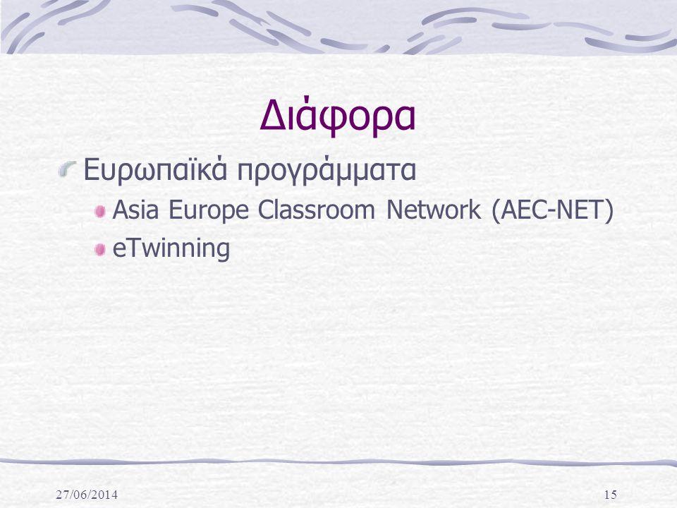 27/06/201415 Διάφορα Ευρωπαϊκά προγράμματα Asia Europe Classroom Network (AEC-NET) eTwinning