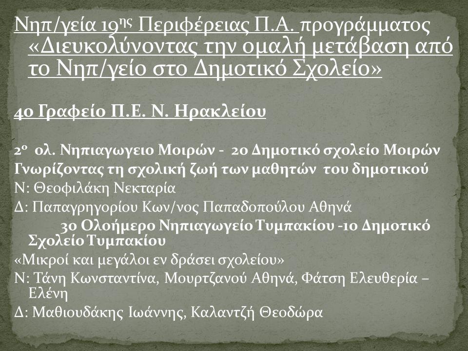 2ο Γραφείο Π.Ε.Ν. Ηρακλείου  6ο Νηπιαγωγείο Ηρακλείου Κρήτης - 23ο Δημ.