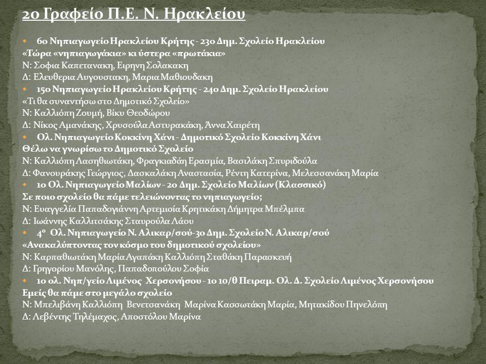 2ο Γραφείο Π.Ε. Ν. Ηρακλείου  6ο Νηπιαγωγείο Ηρακλείου Κρήτης - 23ο Δημ. Σχολείο Ηρακλείου «Τώρα «νηπιαγωγάκια» κι ύστερα «πρωτάκια» Ν: Σοφια Καπεταν