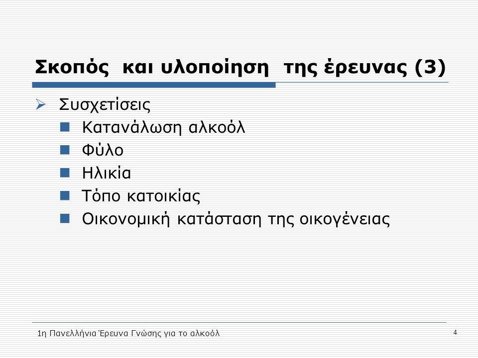 Σκοπός και υλοποίηση της έρευνας (3)  Συσχετίσεις  Κατανάλωση αλκοόλ  Φύλο  Ηλικία  Τόπο κατοικίας  Οικονομική κατάσταση της οικογένειας 4 1η Πανελλήνια Έρευνα Γνώσης για το αλκοόλ