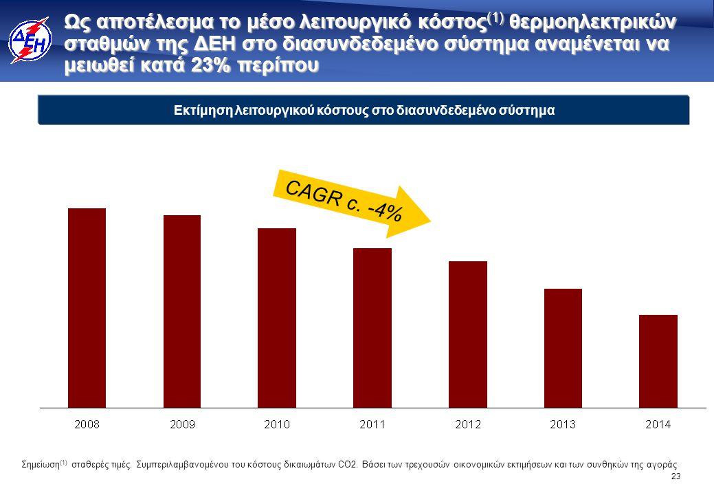 23 Ως αποτέλεσμα το μέσο λειτουργικό κόστος (1) θερμοηλεκτρικών σταθμών της ΔΕΗ στο διασυνδεδεμένο σύστημα αναμένεται να μειωθεί κατά 23% περίπου Εκτί