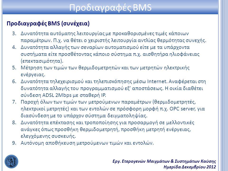 Εργ. Ετερογενών Μειγμάτων & Συστημάτων Καύσης Ημερίδα Δεκεμβρίου 2012 Προδιαγραφές BMS (συνέχεια) Προδιαγραφές BMS 3.Δυνατότητα αυτόματης λειτουργίας