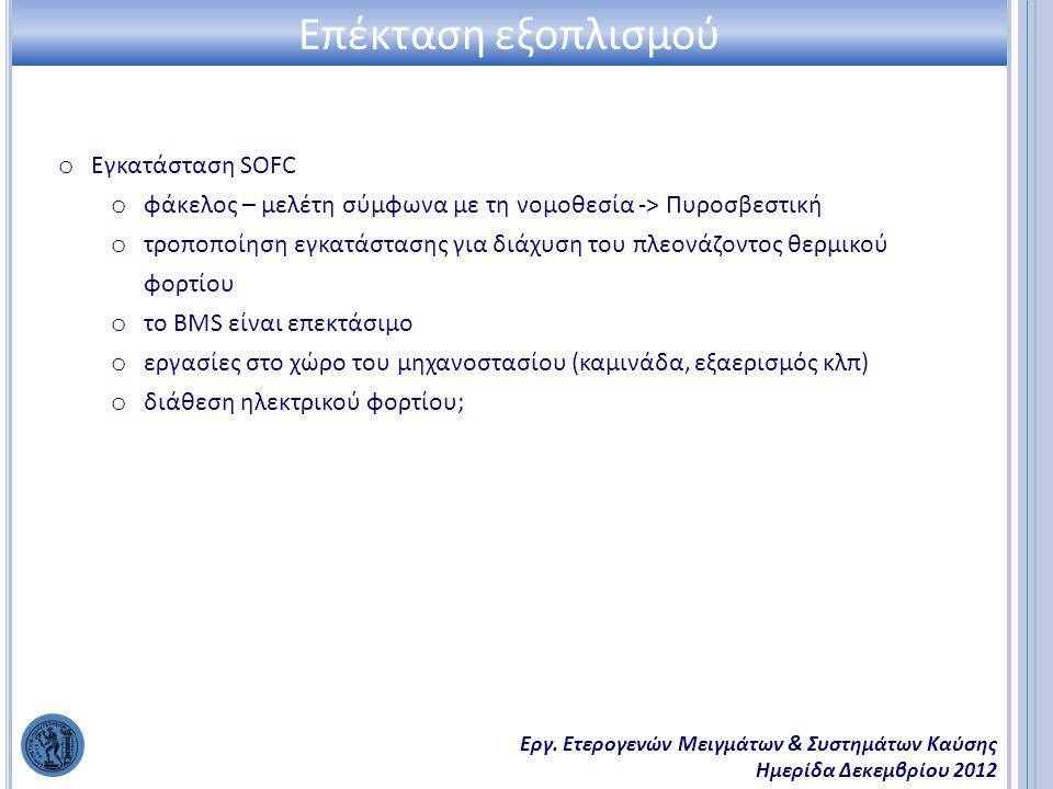 Εργ. Ετερογενών Μειγμάτων & Συστημάτων Καύσης Ημερίδα Δεκεμβρίου 2012 Επέκταση εξοπλισμού o Εγκατάσταση SOFC o φάκελος – μελέτη σύμφωνα με τη νομοθεσί