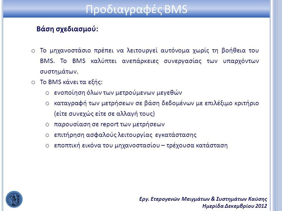 Εργ. Ετερογενών Μειγμάτων & Συστημάτων Καύσης Ημερίδα Δεκεμβρίου 2012 Βάση σχεδιασμού: Προδιαγραφές BMS o Το μηχανοστάσιο πρέπει να λειτουργεί αυτόνομ
