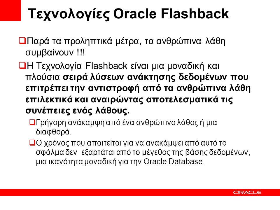 Τεχνολογίες Oracle Flashback  Παρά τα προληπτικά μέτρα, τα ανθρώπινα λάθη συμβαίνουν !!!  Η Τεχνολογία Flashback είναι μια μοναδική και πλούσια σειρ