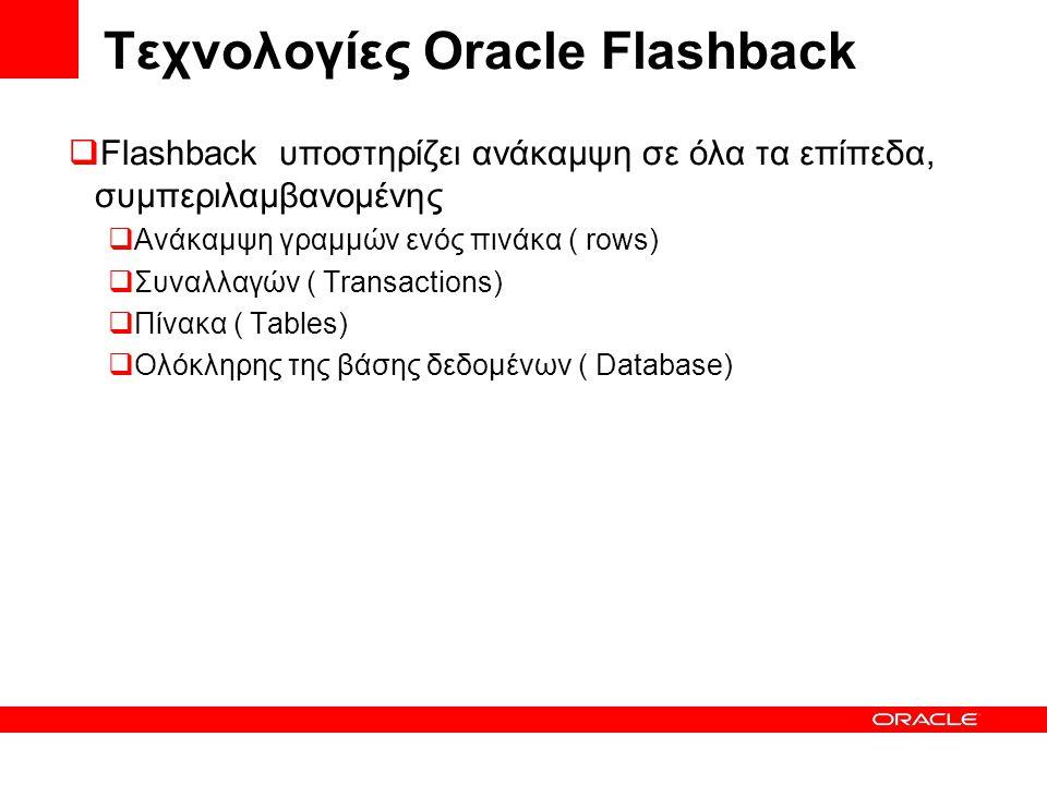 Τεχνολογίες Oracle Flashback  Flashback υποστηρίζει ανάκαμψη σε όλα τα επίπεδα, συμπεριλαμβανομένης  Ανάκαμψη γραμμών ενός πινάκα ( rows)  Συναλλαγών ( Transactions)  Πίνακα ( Tables)  Ολόκληρης της βάσης δεδομένων ( Database)
