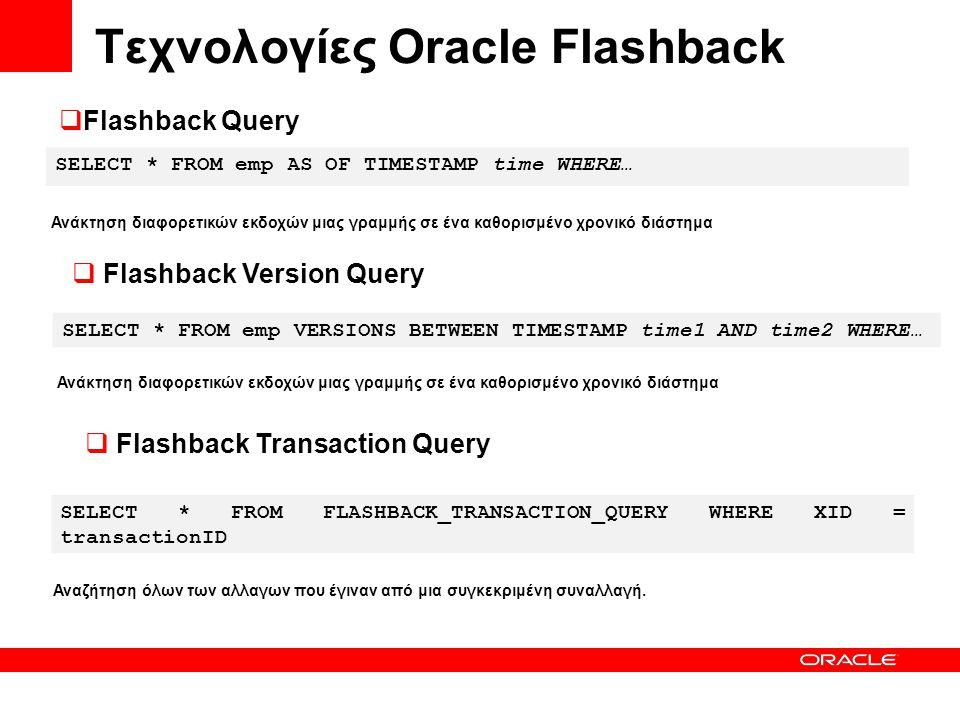 Τεχνολογίες Oracle Flashback SELECT * FROM emp AS OF TIMESTAMP time WHERE… SELECT * FROM emp VERSIONS BETWEEN TIMESTAMP time1 AND time2 WHERE… SELECT * FROM FLASHBACK_TRANSACTION_QUERY WHERE XID = transactionID  Flashback Query Ανάκτηση διαφορετικών εκδοχών μιας γραμμής σε ένα καθορισμένο χρονικό διάστημα  Flashback Version Query Ανάκτηση διαφορετικών εκδοχών μιας γραμμής σε ένα καθορισμένο χρονικό διάστημα  Flashback Transaction Query Αναζήτηση όλων των αλλαγων που έγιναν από μια συγκεκριμένη συναλλαγή.