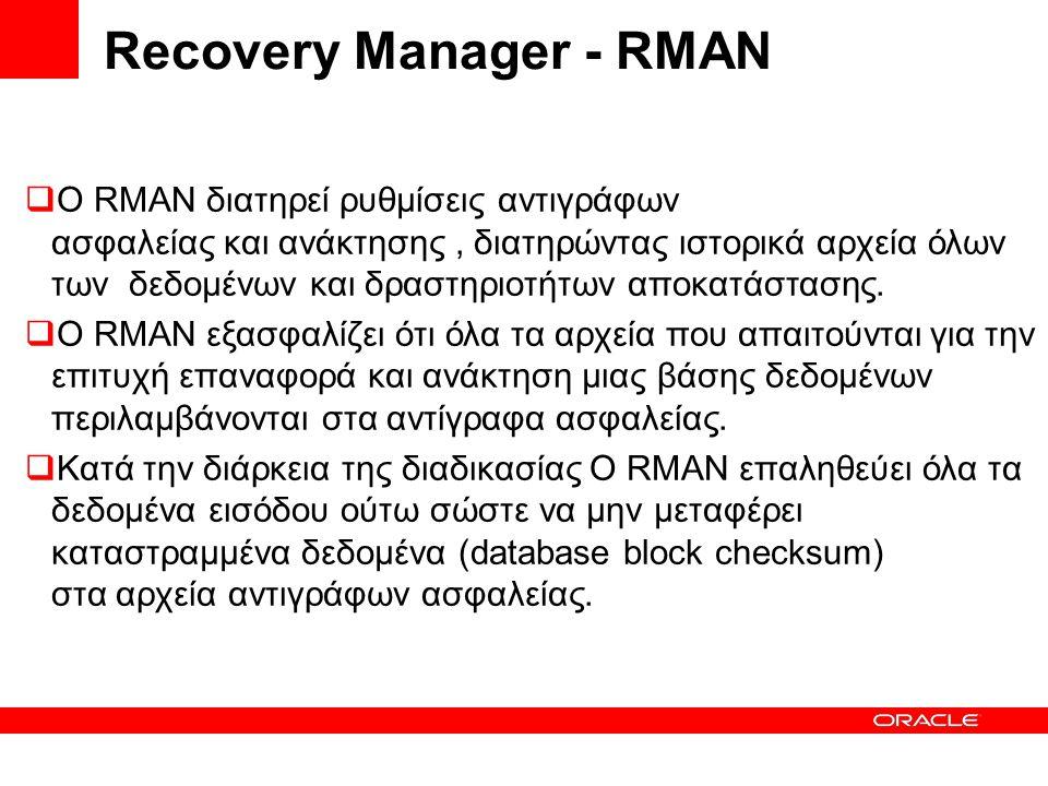  Ο RMAN διατηρεί ρυθμίσεις αντιγράφων ασφαλείας και ανάκτησης, διατηρώντας ιστορικά αρχεία όλων των δεδομένων και δραστηριοτήτων αποκατάστασης.