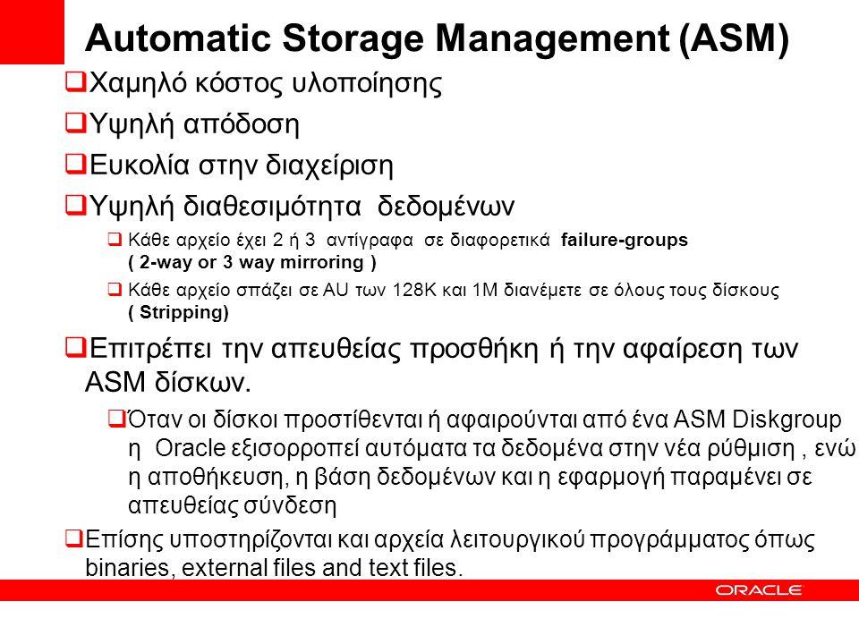 Automatic Storage Management (ASM)  Χαμηλό κόστος υλοποίησης  Υψηλή απόδοση  Ευκολία στην διαχείριση  Υψηλή διαθεσιμότητα δεδομένων  Κάθε αρχείο έχει 2 ή 3 αντίγραφα σε διαφορετικά failure-groups ( 2-way or 3 way mirroring )  Κάθε αρχείο σπάζει σε AU των 128Κ και 1M διανέμετε σε όλους τους δίσκους ( Stripping)  Επιτρέπει την απευθείας προσθήκη ή την αφαίρεση των ASM δίσκων.