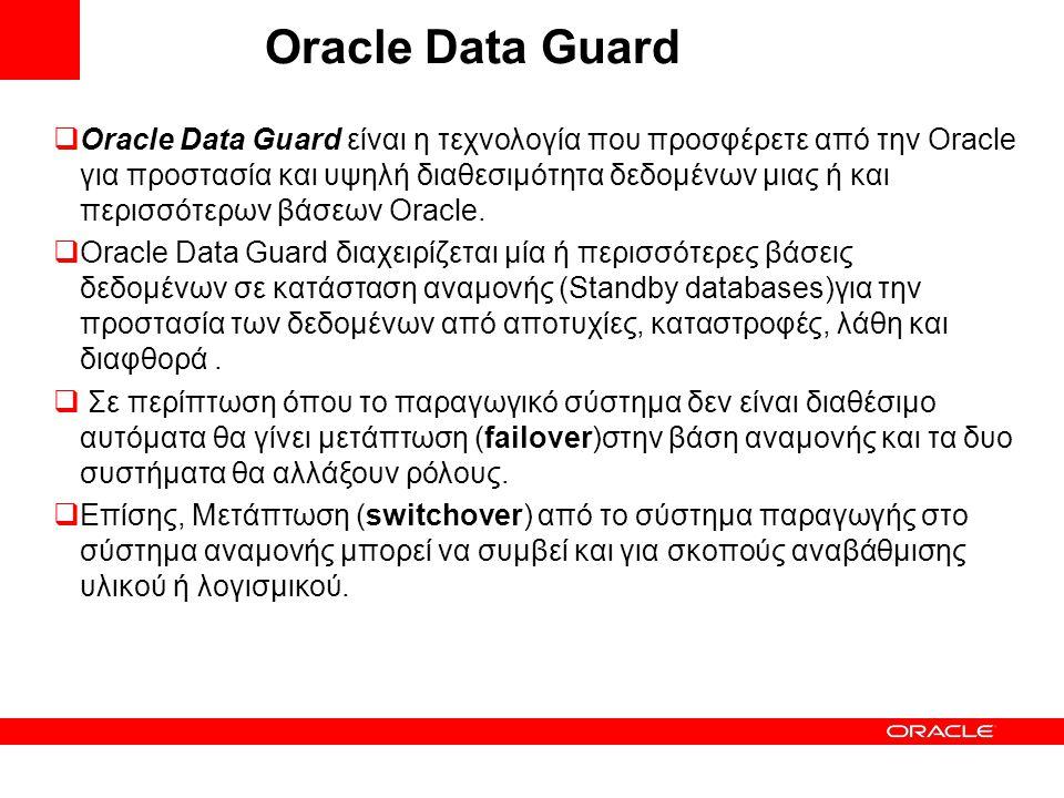 Oracle Data Guard  Oracle Data Guard είναι η τεχνολογία που προσφέρετε από την Oracle για προστασία και υψηλή διαθεσιμότητα δεδομένων μιας ή και περι