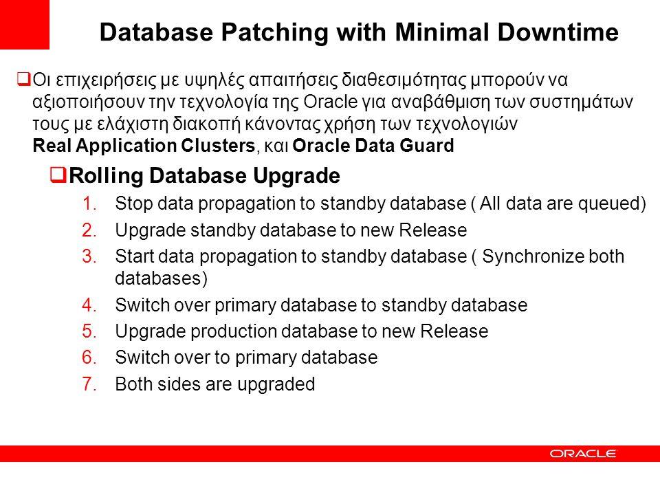 Database Patching with Minimal Downtime  Οι επιχειρήσεις με υψηλές απαιτήσεις διαθεσιμότητας μπορούν να αξιοποιήσουν την τεχνολογία της Oracle για αν